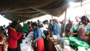 Farmers selling and exchanging seeds in a seed fair