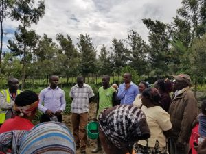 Soil sampling with staff and farmers